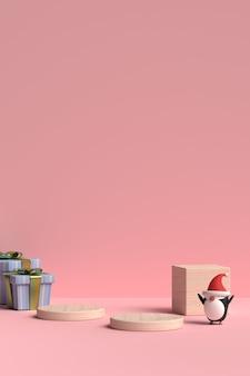 Scène van kerstmispodium met giftdoos en pinguïn in het 3d teruggeven