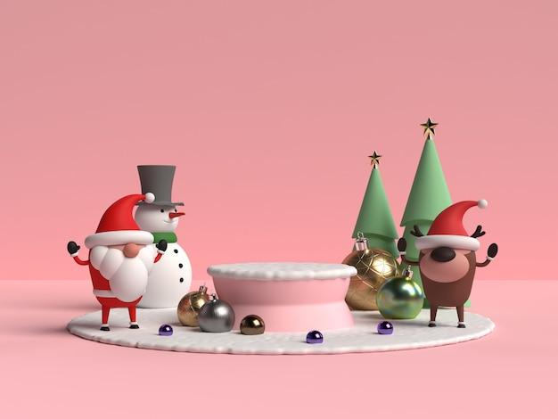 Scène van kerstmispodium met het 3d teruggeven van de kerstman
