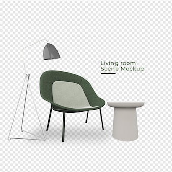 Scène woonkamer doel stoel in de buurt van lamp decoratie ontwerp