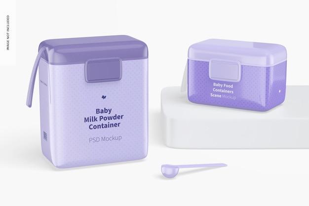 Scènemodel voor babyvoedingcontainers, linkeraanzicht