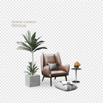 Scenes creator sofa aim chair in de buurt van potplant en kussendecoratie ontwerp Premium Psd