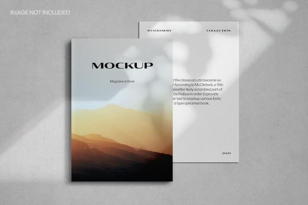 Schaduwoverlay tijdschriftmodel met a4-papier