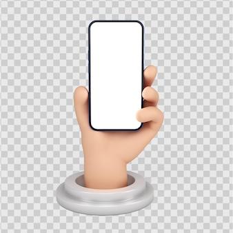 Schattige cartoon karakter handen met smartphone gebaar 3d render geïsoleerd