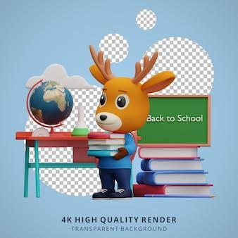 Schattige herten terug naar school mascotte 3d karakter illustratie met een boek