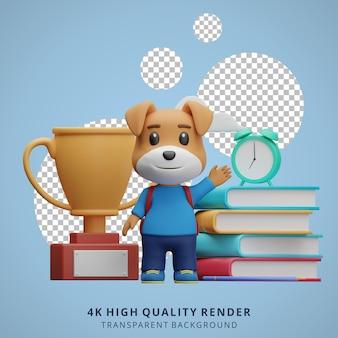 Schattige hond terug naar school mascotte 3d karakter illustratie zwaaien
