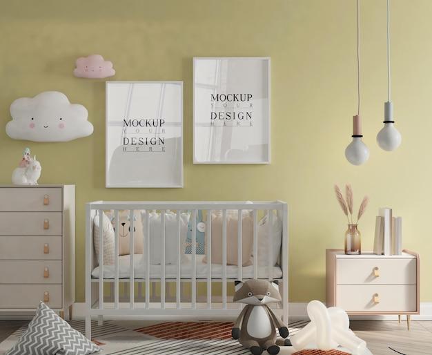 Schattige kinderkamer met mockup poster