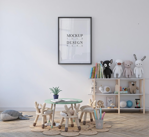 Schattige kleine kinderen klas kleuterschool met poster ingelijst mockup