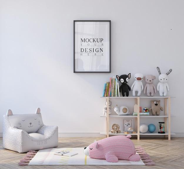 Schattige kleine kinderkamer met poster ingelijst mockup