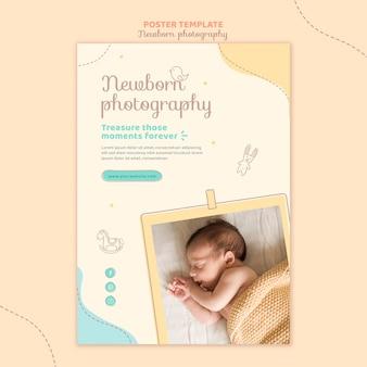 Schattige pasgeboren foto schieten poster sjabloon