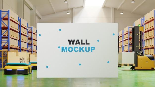 Scheda di mockup nel rendering 3d interni di fabbrica