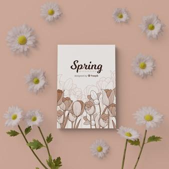 Scheda di primavera con cornice floreale 3d