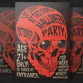Schedel halloween party flyer sjabloon