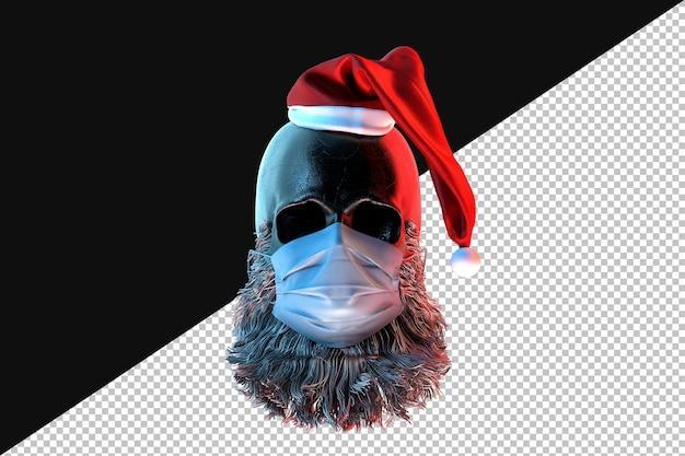 Schedel van de kerstman in een gezichtsmasker. pandemisch concept. 3d-rendering