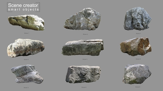 Schepper van realistische stenen set