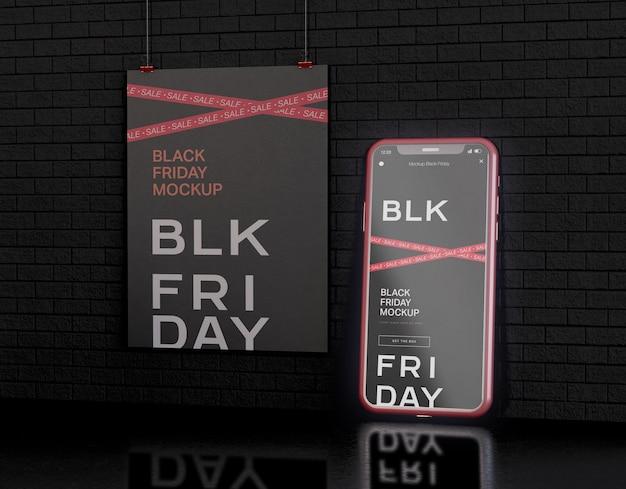 Schermo dello smartphone e banner mockup