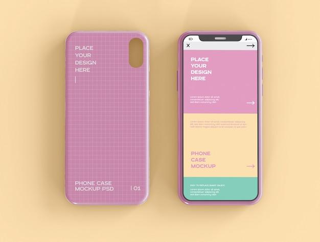 Schermo per smartphone e custodia mockup