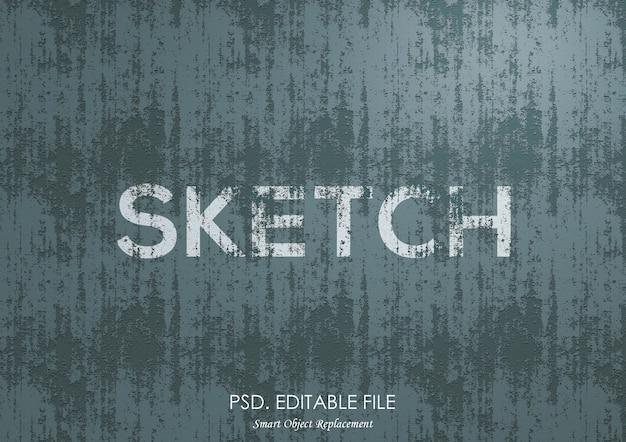 Schets textuur teksteffect mockup