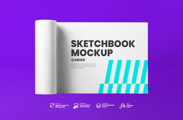 Schetsboek mockup 3d render