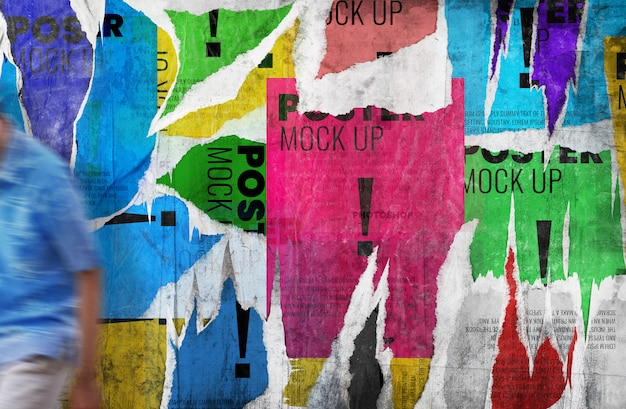 Scheur poster grunge muur mockup realistisch