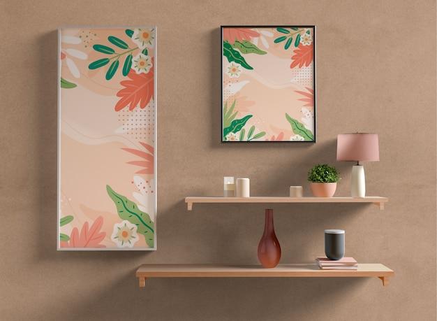 Schilderij kaders mock-up op muur