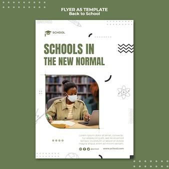 Scholen in nieuwe normale flyer-sjabloon