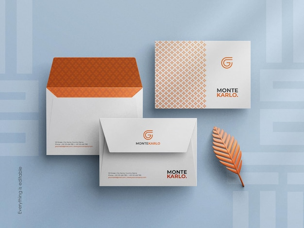 Schone minimale bedrijfsenvelop-mockup in c6-formaat aangepaste scènemaker