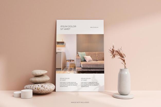 Schone minimale flyer-poster met bloemenmodel