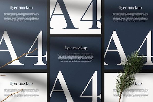 Schone minimale papieren a4-mockup op achtergrond met conifer