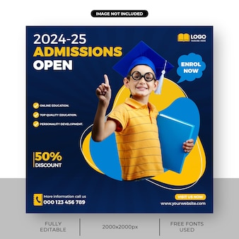 School admission banner of square admissions open social media post template