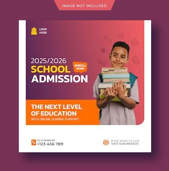 School admission instagram post of social media post terug naar school sjabloon premium psd