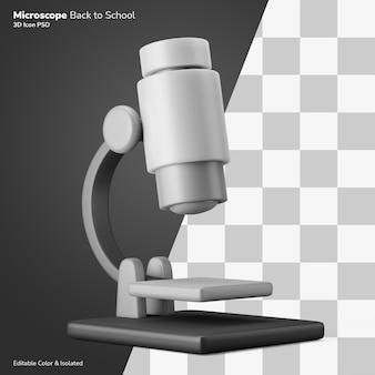 School laboratorium microscoop biologie klasse symbool 3d-rendering pictogram bewerkbaar geïsoleerd Premium Psd