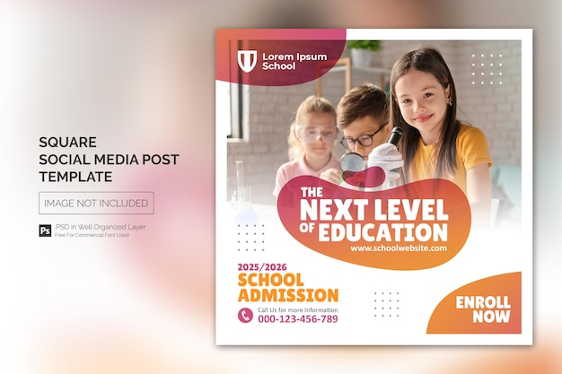 School toelating onderwijs plein social media post webbanner sjabloon