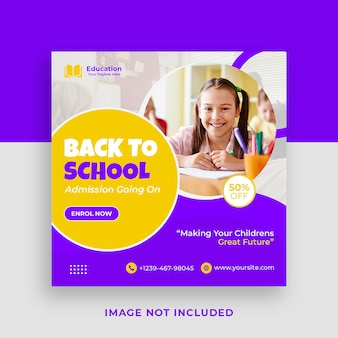 School toelating promotionele instagram social media postsjabloon en webbanner premium psd