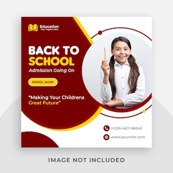 School toelating promotionele instagram social media postsjabloon en webbanner