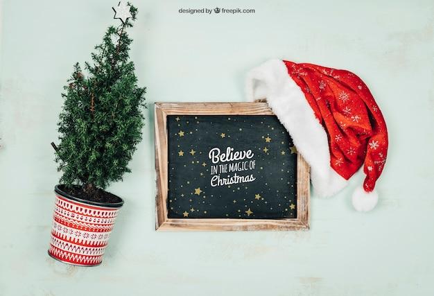 Schoolbord en plantenmodel met christmtas-ontwerp