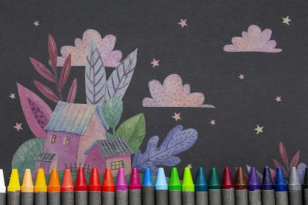 Schoolbord met artistieke tekening