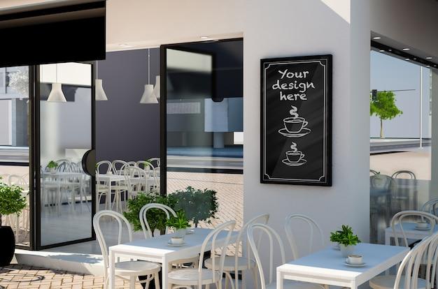 Schoolbord op restaurant gevel mockup