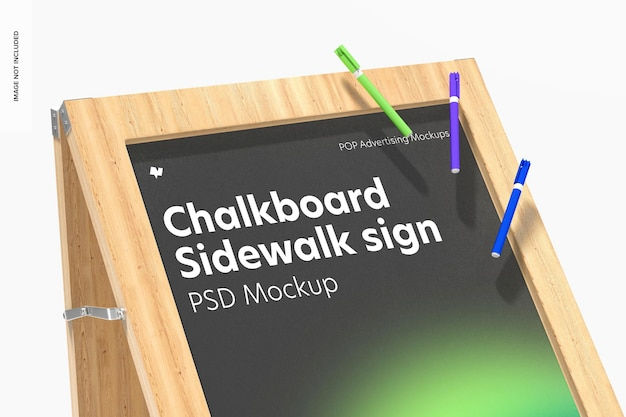 Schoolbord stoepbord mockup, close-up