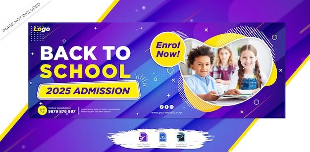 Schoolonderwijs toelating facebook tijdlijn cover & webbanner sjabloon
