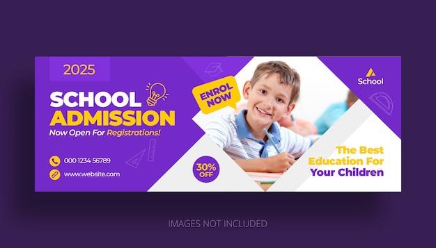Schoolonderwijs toelating facebook tijdlijn voorbladsjabloon
