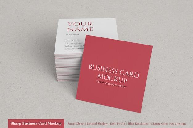 Schoon en modern vierkant visitekaartje met gestructureerde papieren mock-up sjablonen