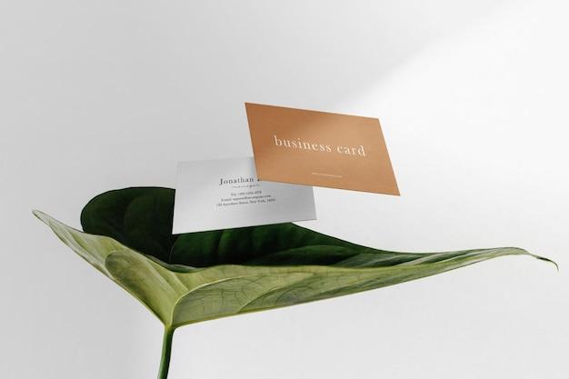 Schoon minimaal visitekaartjemodel drijvend op blad