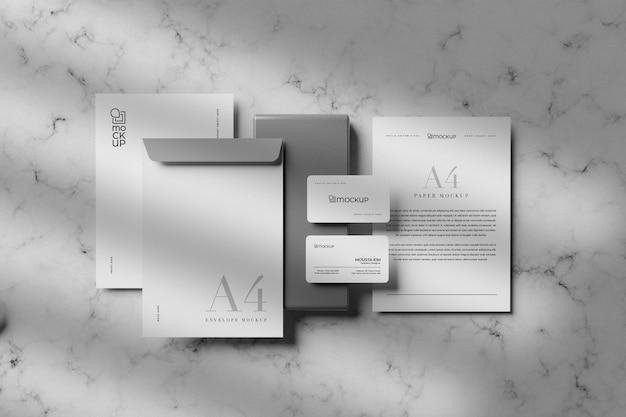 Schoon wit stationair mockup-ontwerp