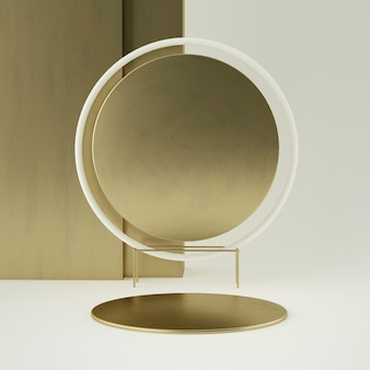 Schoon witgoud productvoetstuk, gouden frame, herdenkingsbord, abstract minimaal concept, lege ruimte, schoon ontwerp, luxe. 3d-weergave