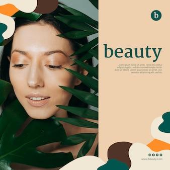 Schoonheid banner sjabloon met een vrouw