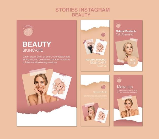 Schoonheid concept instagram verhalen sjabloon