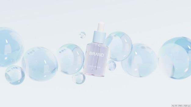 Schoonheidsproduct met blauwe bubbels. 3d render