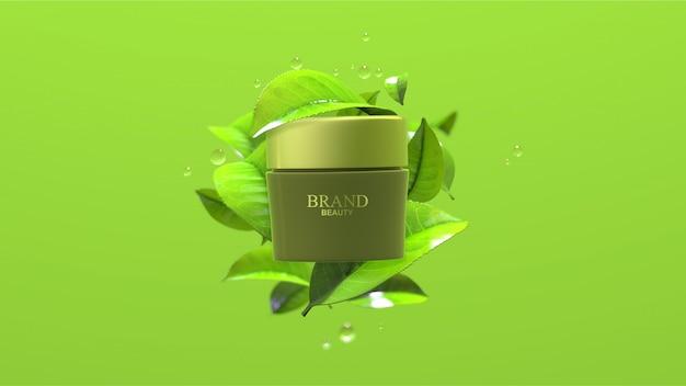 Schoonheidsproduct met groene theebladeren