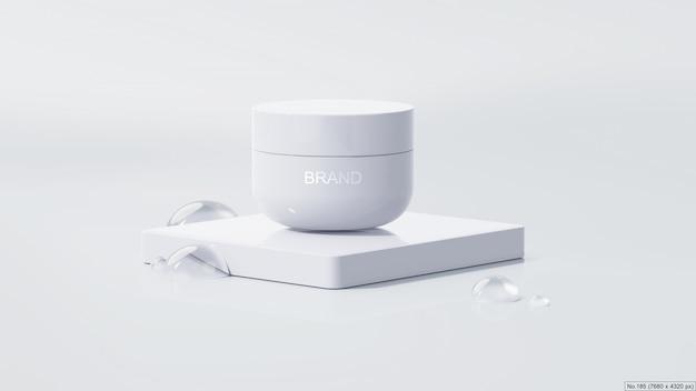 Schoonheidsproduct op wit podium met waterbel. 3d render