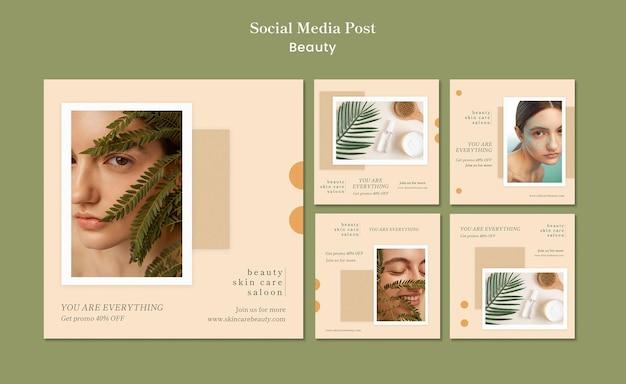 Schoonheidssjabloon voor sociale media Gratis Psd